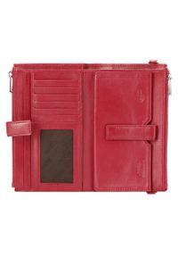 Wittchen - Damski portfel ze skóry z funkcją kopertówki. Kolor: czerwony. Materiał: skóra. Wzór: gładki
