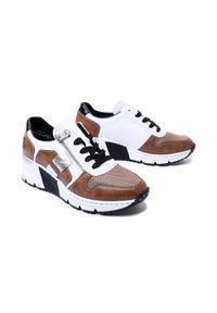 Rieker - RIEKER N6312-65 sneaker beige combination, półbuty damskie. Zapięcie: sznurówki. Kolor: brązowy. Materiał: skóra