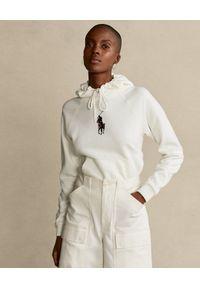 Ralph Lauren - RALPH LAUREN - Biała bluza z jeźdźcem Relaxed fit. Typ kołnierza: polo, kaptur. Kolor: biały. Materiał: bawełna. Długość rękawa: długi rękaw. Długość: długie