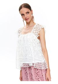 TOP SECRET - Koronkowa bluzka damska. Kolor: biały. Materiał: koronka. Wzór: koronka, ażurowy. Sezon: lato, wiosna. Styl: elegancki