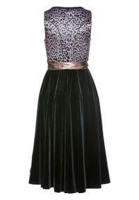 Sukienka w ludowym stylu w cętki leoparda bonprix czarny z nadrukiem. Kolor: czarny. Wzór: nadruk