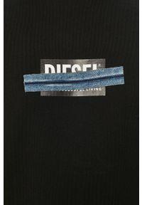 Czarna bluza nierozpinana Diesel z nadrukiem, casualowa
