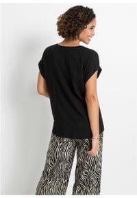 Bluzka z przyjaznej dla środowiska wiskozy bonprix czarny. Typ kołnierza: typu henley. Kolor: czarny. Materiał: wiskoza