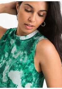 Sukienka bonprix zielono-biały z nadrukiem. Kolor: zielony. Wzór: nadruk