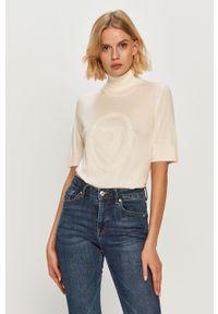 Biały sweter Trussardi Jeans z golfem, casualowy, z krótkim rękawem, z aplikacjami