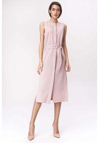 Różowa sukienka wizytowa Nife midi, prosta
