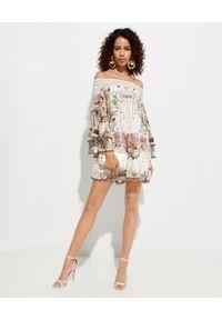 Biała sukienka mini Camilla rozkloszowana, z aplikacjami