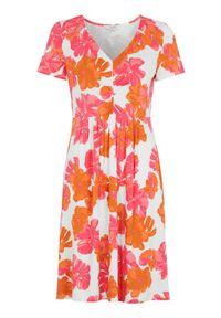 Różowa sukienka Cellbes z dekoltem w serek, w kwiaty