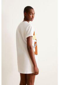 Undiz - Koszula nocna TICTAFRIENDIZ. Kolor: biały. Materiał: bawełna, dzianina. Długość: krótkie. Wzór: nadruk