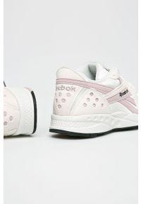 Fioletowe buty sportowe Reebok Classic z cholewką, na sznurówki, na średnim obcasie, z okrągłym noskiem