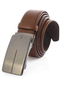 Brązowy pasek męski z automatyczną klamrą KMG50. Kolor: brązowy. Materiał: skóra. Styl: elegancki