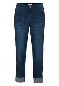 Dżinsy BOYFRIEND 7/8 z kontrastową szczypanką bonprix ciemnoniebieski. Kolor: niebieski. Materiał: bawełna, wiskoza, materiał, elastan, poliester