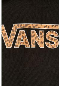 Czarna bluza Vans z długim rękawem, z nadrukiem, casualowa, z kapturem