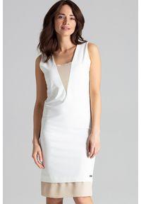 Lenitif - Elegancka sukienka midi z wstawkami z szyfonu ecru. Materiał: szyfon. Typ sukienki: proste. Styl: elegancki. Długość: midi