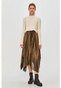 AllSaints - Sukienka i sweter. Długość rękawa: na ramiączkach. Typ sukienki: plisowane, asymetryczne, rozkloszowane