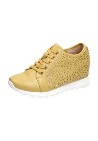 Jezzi - Złote botki damskie sneakersy JEZZI ASA170-3. Kolor: beżowy. Materiał: skóra. Obcas: na koturnie. Styl: klasyczny. Wysokość obcasa: średni