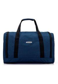 Niebieska torba podróżna Wittchen sportowa, z haftami