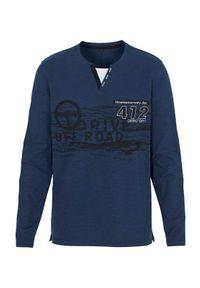 Niebieski sweter Cellbes długi, z długim rękawem, z nadrukiem, z kontrastowym kołnierzykiem