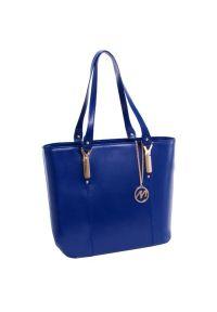 Niebieska torba na laptopa MCKLEIN biznesowa, z aplikacjami