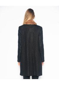 CRISTINAEFFE - Czarny płaszcz ze złotą nicią. Kolor: czarny. Materiał: jeans, materiał. Styl: klasyczny