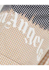 PALM ANGELS - Dwukolorowe szorty w kratę. Kolor: beżowy. Wzór: nadruk, aplikacja