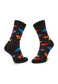 Czarne skarpetki Happy-Socks w kolorowe wzory