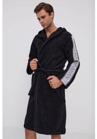 Emporio Armani Underwear - Szlafrok. Typ kołnierza: kaptur. Kolor: czarny. Materiał: tkanina