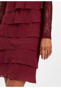 Czerwona sukienka bonprix w koronkowe wzory, wizytowa