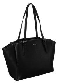 DAVID JONES - Shopperka czarna David Jones CM6002 BLACK. Kolor: czarny. Wzór: gładki. Materiał: skórzane