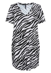 Sukienka shirtowa bonprix biało-czarny w paski zebry. Kolor: biały. Wzór: motyw zwierzęcy, paski