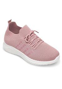 NEST - Buty sportowe damskie Nest AD-3-0571 Różowe. Okazja: na co dzień. Kolor: różowy. Materiał: guma, tkanina. Obcas: na obcasie. Wysokość obcasa: niski. Sport: turystyka piesza