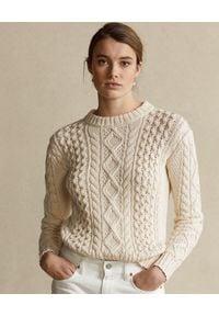 Ralph Lauren - RALPH LAUREN - Beżowy sweter. Okazja: na co dzień. Typ kołnierza: polo. Kolor: beżowy. Materiał: jeans, wełna, bawełna. Wzór: ze splotem. Sezon: wiosna. Styl: casual #1