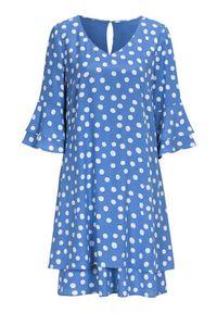 Cellbes Sukienka warstwa na warstwie z rękawami z falbanką niebieski we wzory female niebieski/ze wzorem 42/44. Kolor: niebieski. Materiał: jersey, tkanina. Styl: wizytowy, elegancki