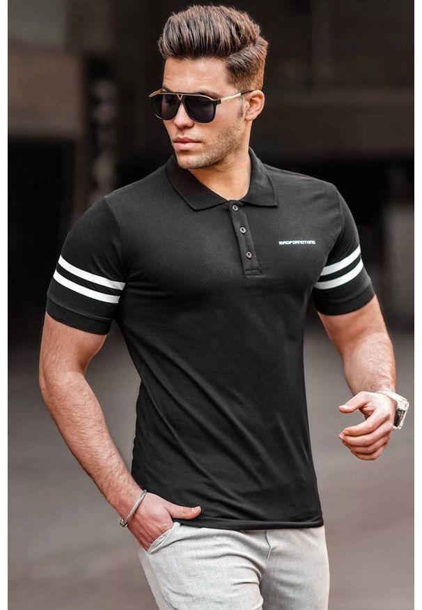 IVET - T-shirt męski OLIVER BLACK. Okazja: na co dzień. Typ kołnierza: polo. Kolor: czarny. Materiał: materiał. Styl: casual