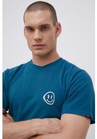 Vans - T-shirt bawełniany. Kolor: niebieski. Materiał: bawełna. Wzór: nadruk