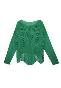 TOP SECRET - Sweter ażurowy w modnym kolorze. Okazja: na co dzień. Kolor: zielony. Materiał: dzianina. Długość rękawa: krótki rękaw. Długość: długie. Wzór: ażurowy. Sezon: jesień, zima. Styl: casual