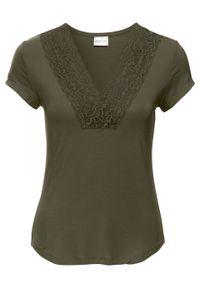 Zielona bluzka bonprix z dekoltem w serek, elegancka, w koronkowe wzory