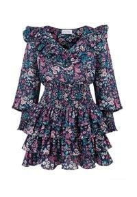 SELF LOVE - Bluzka w kwiatki Modena. Okazja: do pracy. Kolor: niebieski. Materiał: wiskoza. Długość rękawa: długi rękaw. Wzór: kwiaty