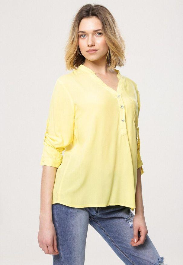 Born2be - Żółta Bluzka Fiber. Kolor: żółty