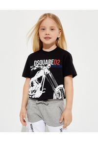 DSQUARED2 KIDS - Czarna koszulka z nadrukiem 4-12 lat. Kolor: czarny. Materiał: bawełna. Wzór: nadruk. Sezon: lato