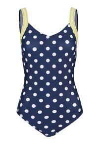 Niebieski strój kąpielowy jednoczęściowy bonprix w kropki