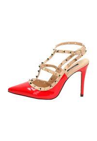 vices - Czerwone sandały damskie szpilki VICES 1166-19. Kolor: czerwony. Materiał: skóra. Obcas: na szpilce