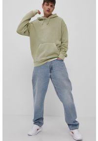 Reebok - Bluza bawełniana. Kolor: zielony. Materiał: bawełna. Wzór: gładki