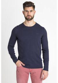Niebieski sweter JOOP! Jeans z haftami, z okrągłym kołnierzem