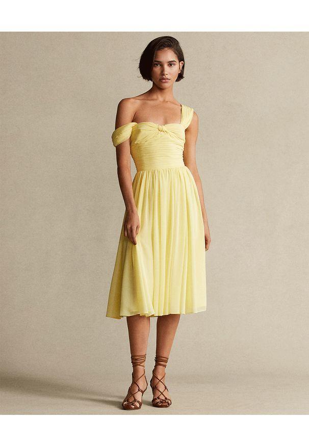 Ralph Lauren - RALPH LAUREN - Żółta sukienka na ramiączkach. Typ kołnierza: polo. Kolor: żółty. Materiał: materiał. Długość rękawa: na ramiączkach