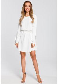 e-margeritka - Sukienka rozkloszowana z długim rękawem ecru - XXL. Materiał: poliester, materiał, elastan. Długość rękawa: długi rękaw. Styl: boho, elegancki
