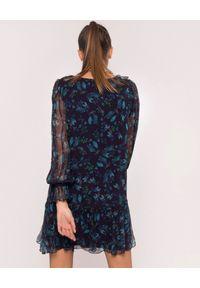 Nissa - NISSA - Jedwabna sukienka w niebieskie wzory. Kolor: czarny. Materiał: jedwab. Długość rękawa: długi rękaw. Wzór: kwiaty. Sezon: lato, wiosna. Długość: mini