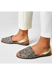 Złote sandały Sergio Bardi na co dzień, z aplikacjami, casualowe