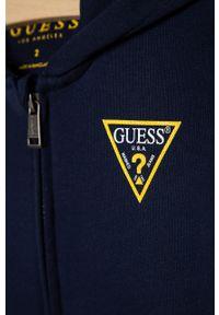 Niebieska bluza rozpinana Guess z nadrukiem, casualowa, z kapturem, na co dzień