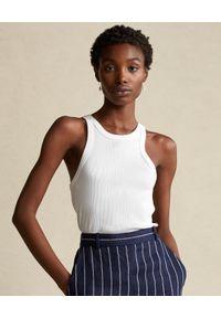 Ralph Lauren - RALPH LAUREN - Biała koszulka bez rękawów. Typ kołnierza: polo. Kolor: biały. Materiał: bawełna. Długość rękawa: bez rękawów